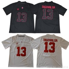Men's Alabama Tagovailoa 13 College Jerseys - White Red Black Stitched Size S-3XL Free Shipping(China)