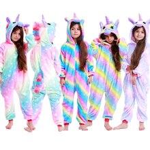 Фланелевый комбинезон с единорогом для мальчиков и девочек; пижамный комплект с леопардовым принтом; одежда для сна с животными; зимние комбинезоны кигуруми; детские комбинезоны
