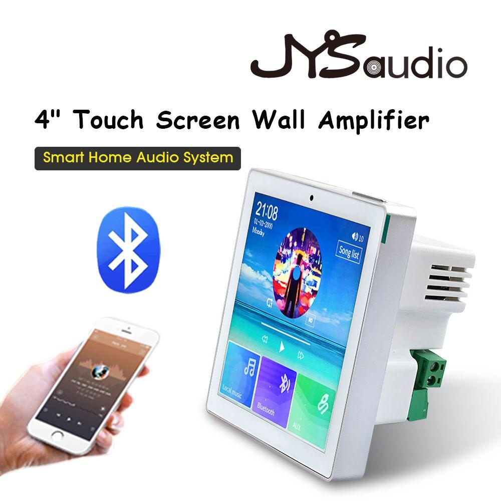 2 ou 4 canais sem fio bluetooth amplificador de parede com tela sensível ao toque rádio fm, usb, tf, para casa inteligente amplificador de áudio bt