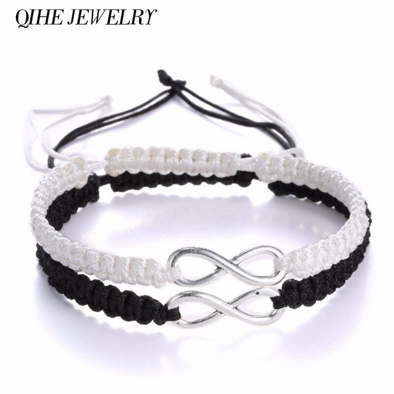 QIHE JEWELRY 2pcs Infinity Braided kit Ribbon bracelet Friendship Bracelet Set friendly Love Couples Bracelet Fashion Jewelry