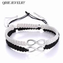 QIHE – kit de bracelets tressés Infinity 2 pièces, ensemble de bracelets d'amitié avec ruban, bijoux à la mode pour Couples amoureux