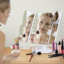 USB 22 LED  Folding Mirror Lamp Cosmetic Mirrors Portable Makeup LED Luminous Table Mirror Bathroom Home Decor Girl Beauty Lamp