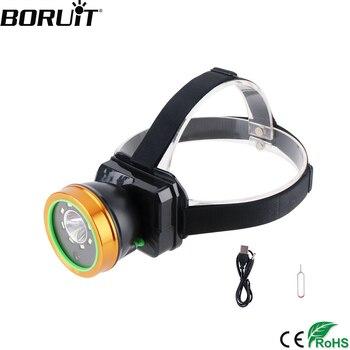 BORUiT HD 1080P Camera LED Headlamp High Power 2000LM SMD Headlight 2-Mode Built-in 4000mAh Battery Head Torch Video Recorders