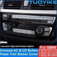Chrome konsoli AC klimatyzator CD Digit przycisk cekiny wklej pokrywa wykończenia naklejka na BMW 3 GT 4 1 serii F20 F30 F31 F32 F35F36 tanie tanio CN (pochodzenie) High Quality ABS + PC Made Klimatyzacja montaż 0 50kg Console AC CD Digit Button Paste Sticker 5inch