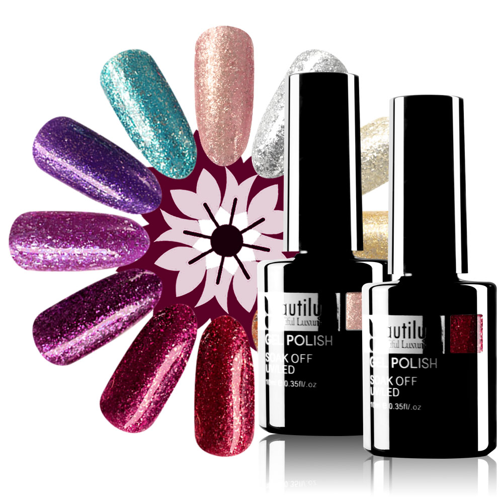 Beautilux Platinum Nail Gel Polish Glitter Flakes Color Nails Art Gels Polish Soak Off UV LED Winter Nail Varnish Lacquer 10ml