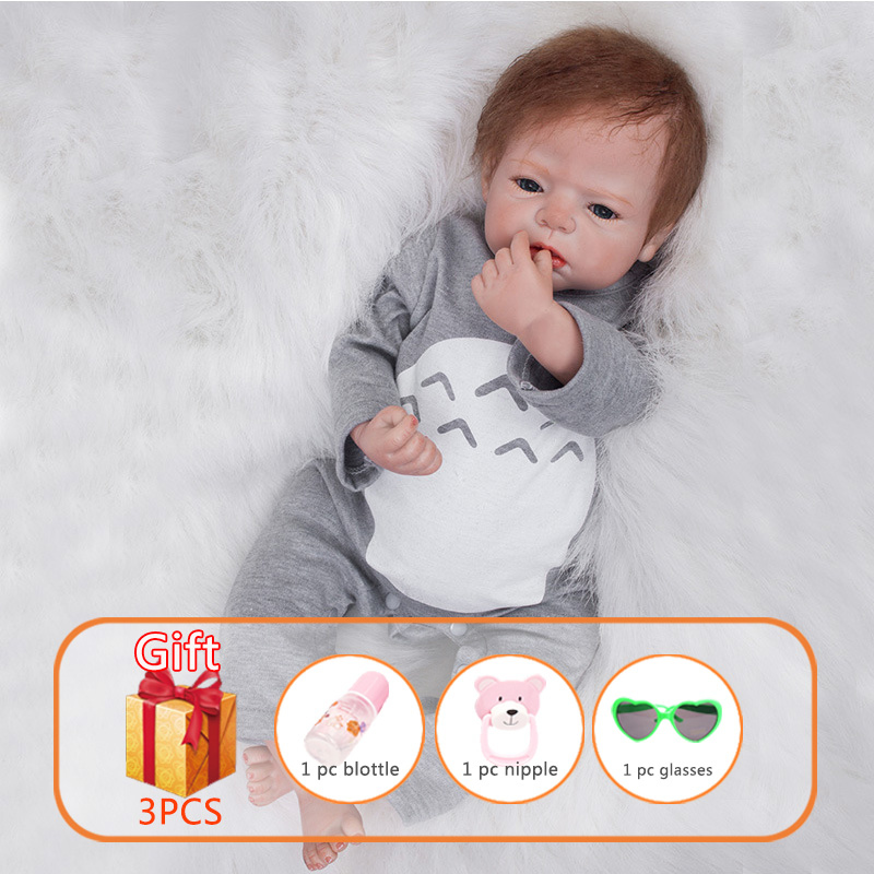 22 Inch Reborn Baby Doll Simulation Baby Doll Silicone Limbs Cotton Body Soft Rubber Reborn Toddler