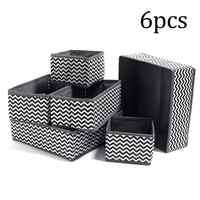 6pcs/set Foldable Storage Bag Clothes Storage Box Bra Underwear Organizer Non-woven Fabric Wardrobe Organizer For Underwear Sock