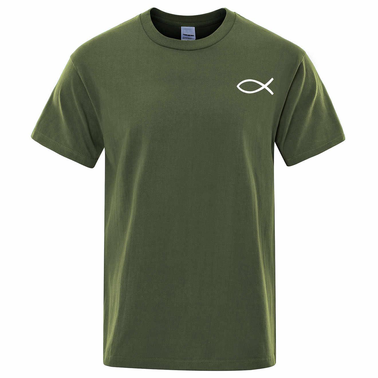 2019 Musim Panas Baru T Kemeja Pria Merek Tee Anak Laki-laki Pria T-Shirt Lengan Pendek Atasan Christian JESUS Ikan Katun Berkualitas Tinggi men Suit