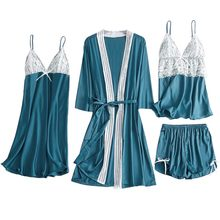 4pc Sleepwear Women Satin Lace Sexy Nightwear Camisole Bowknot Shorts Nightdress Robe Pajamas Lingerie Night Set Dress ##7(China)