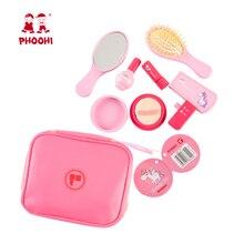 Zestaw do makijażu dla dziewczynek zabawki drewniane kosmetyki zabawki dla dzieci udawaj zagraj w symulację modna piękna zabawka dla dzieci PHOOHI