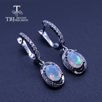 oval cut 6*8mm 2ct natural Opal Clasp earring 925 sterling silver  Ethiopia Opal Jewelry for women  tbj promotion