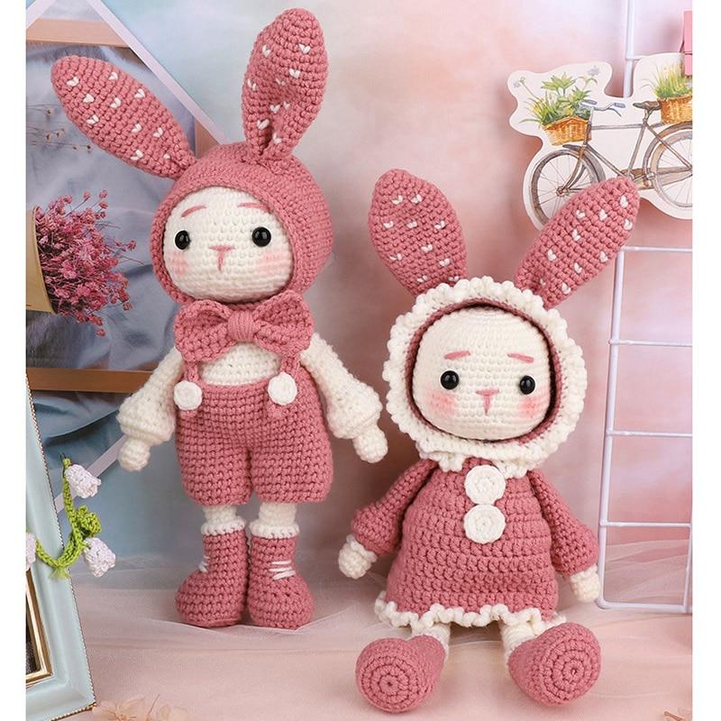 Handmade Crocheted Wool Dolls Material Pack DIY Long Ears Rabbits Handmade Dolls FAS6