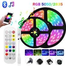 30M Bluetooth musique RGB Led bande lumières 12V ruban Flexible 5050 2835 5M 10M 15M 20M bande vacances Luces lampes Led avec adaptateur