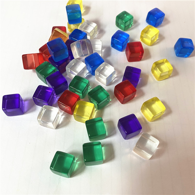 100Pcs/set 10mm Transparent Colorful Crystal D6 Dice Chess Piece With Right Angle Sieve For Puzzle Board Games