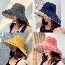 Chapéu de sol de linho de algodão de borda larga 2021 anti-uv para as mulheres férias verão panamá chapéu de balde dobrável grande borda coreano praia chapéu de sol