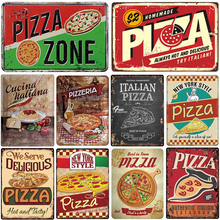 Cartel para pizza retro hojalata pintura vintage metal cuadro decorativo de pared para pizzeria restaurante comedor