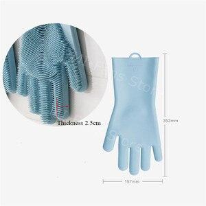 Image 5 - Xiaomi JJ Sihirli Silikon temizlik eldiveni Yalıtım kaymaz Bulaşık Yıkama Eldiven Çift taraflı Eldiven Ev Mutfak için