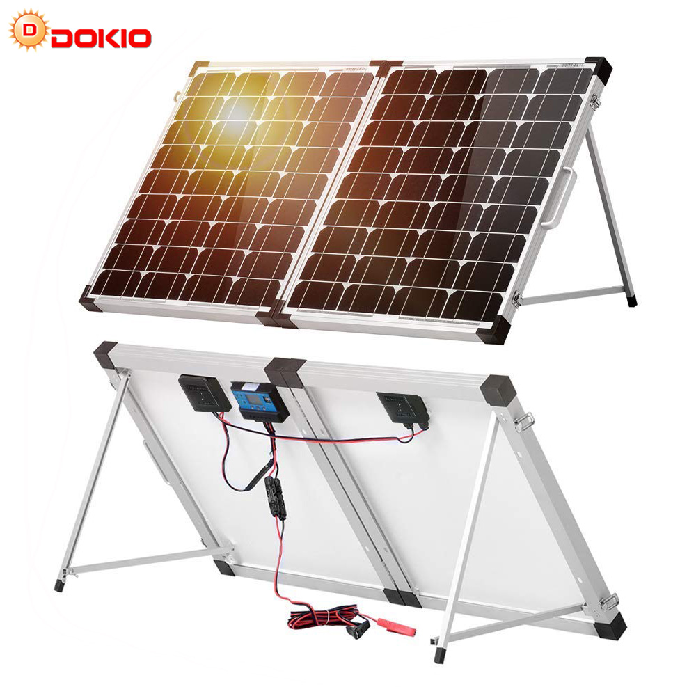 Dokio 100W (2Pcs x 50W) Foldable Solar Panel China pannello solare usb Controller Solar Battery Cell/Module/System Charger image
