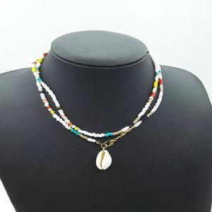 Популярные мульти цветное, с бисером Цепочки и ожерелья Scrafted с натуральным подвески из раковин для богемного ветра