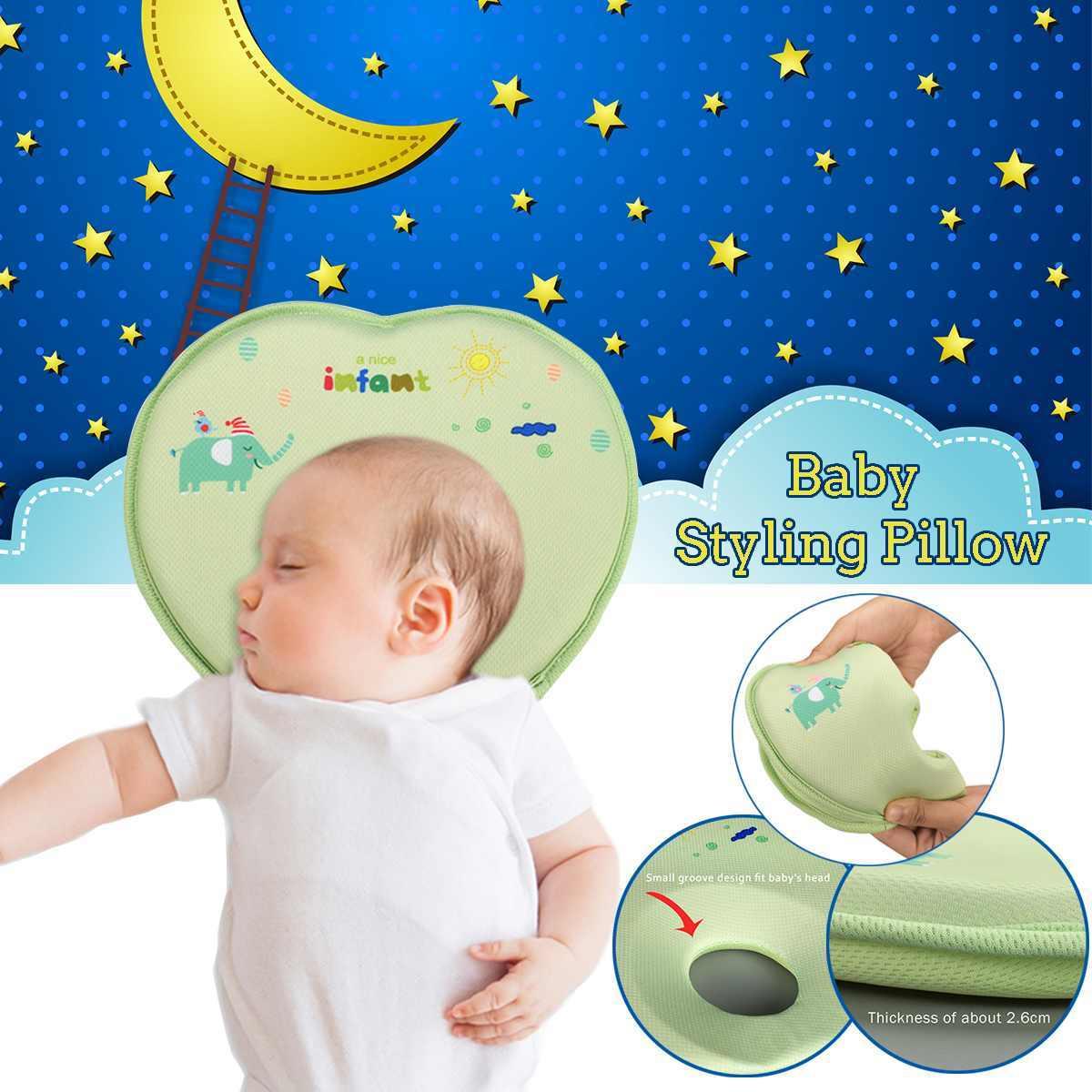 Almohada de espuma de memoria 3D para la cama almohada de estilo para bebé para evitar la cabeza plana ergonómica almohada para Recién Nacido cabeza de niños posicionador para dormir