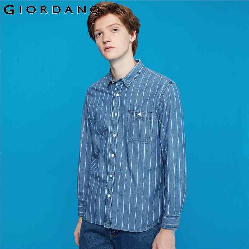 Giordano Мужская рубашка полосатые джинсовые рубашки для мужчин с длинным рукавом и карманом Camisa Masculina на пуговицах спереди Chemise Homme 01049889