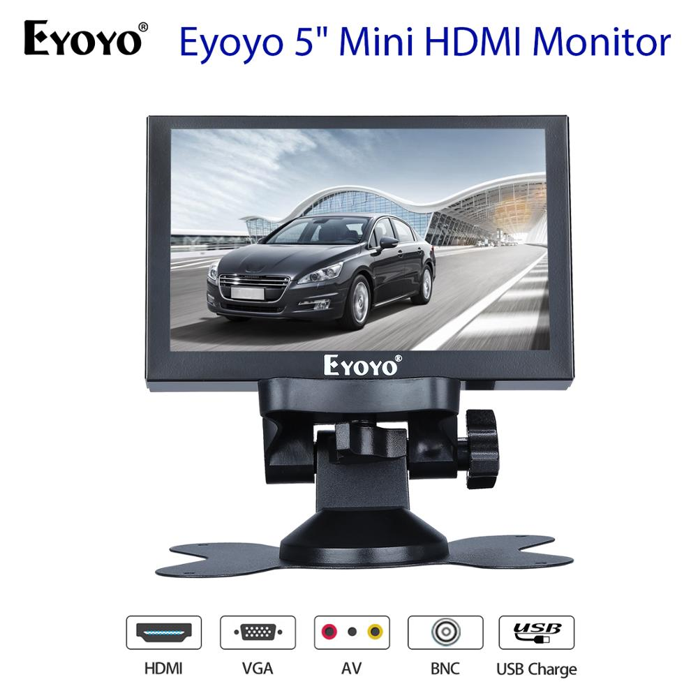 Eyoyo 5inch Monitor Small Hdmi Monitor Portable vga Monitor CCTV Screen LCD 800x480 IPS Monitor BNC AV VGA Display LED car monitor