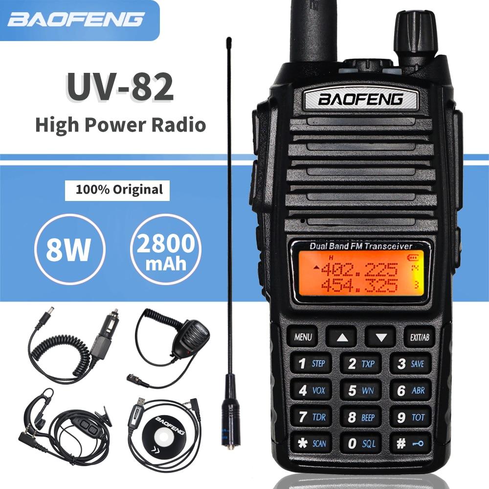 Tri-power Baofeng UV-82 8W High Power Walkie Talkie UV 82hp Dual Band VHF/UHF Portable Two Way Ham CB Radio UV82 Amateur UV 82