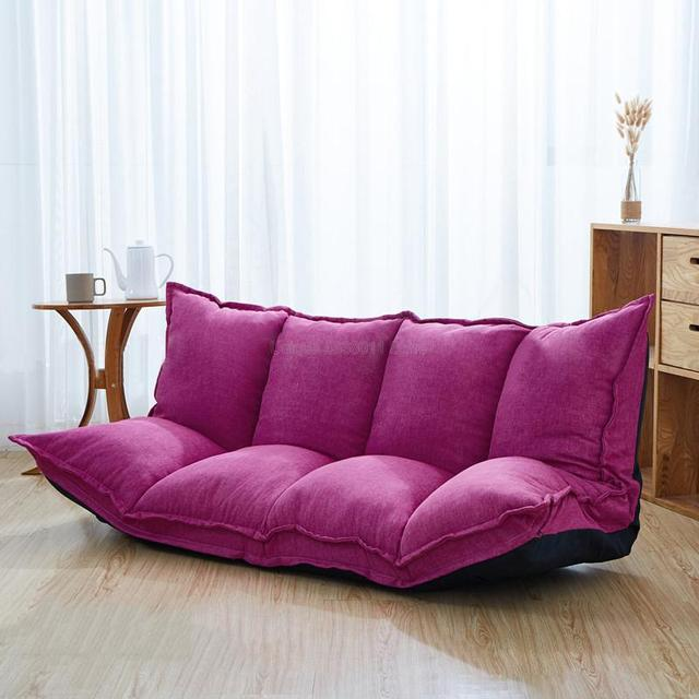 Linen Fabric Upholstery Adjustable Floor Sofa Bed Lounge Sofa Bed Floor Lazy Man Couch Living Room Furniture Video Gaming Sofa 6