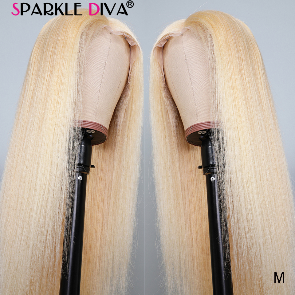 13x4 Glueless 613 Blonde Lace Front Human Hair Wigs Brazilian Straight Lace Front Wig Pre Plucked Medium Rito Remy Lace Wigs 150