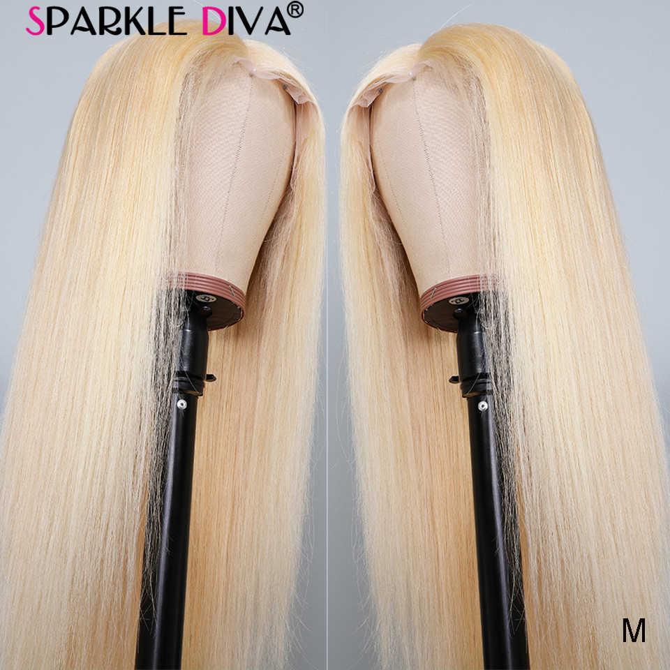 13x4 Glueless 613 blond koronki przodu włosów ludzkich peruk brazylijski prosto koronkowa peruka na przód wstępnie oskubane średnie Rito Remy koronkowe peruki 150