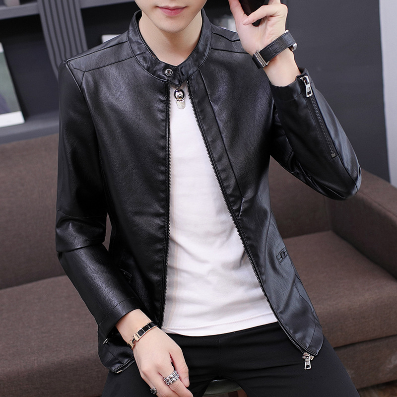 MEN'S Leather Coat Autumn New Style Korean-style Slim Fit PU Leather Jacket Youth Motorcycle Jacket Men's Trend Casual Men'S Wea