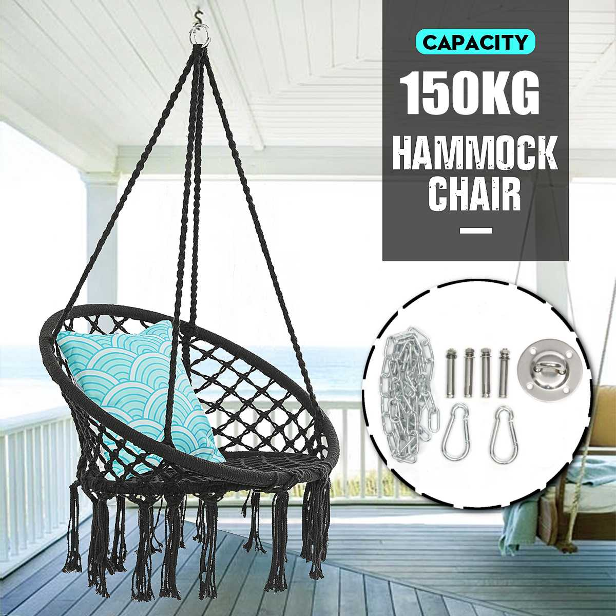 150kg Nordic Round Hammock Chair Handmade Knitted Indoor Outdoor Swing Bed Kids Adult Hanging Chair Hammock With Metal Aliexpress