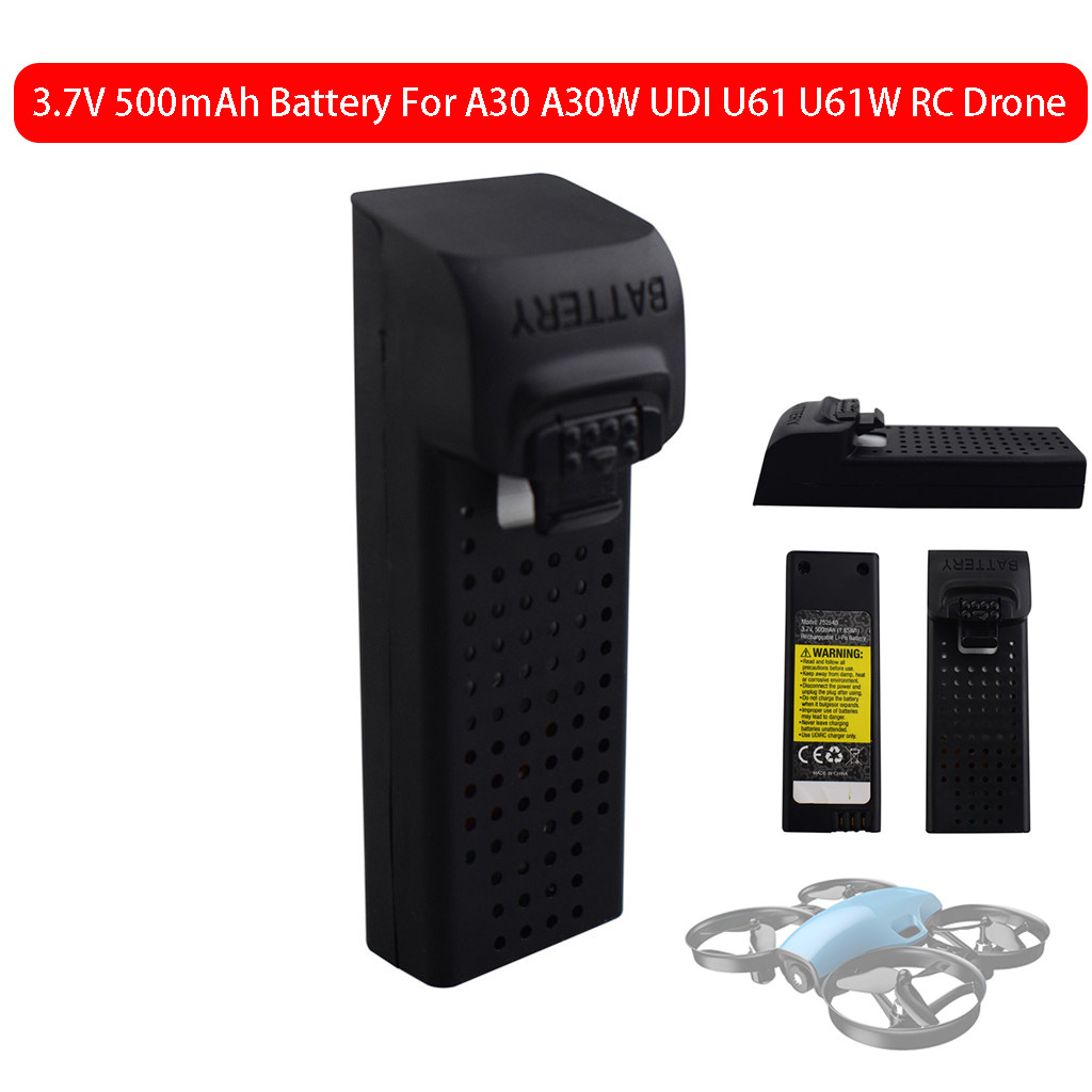 <font><b>3.7V</b></font> <font><b>500mAh</b></font> Lithium <font><b>Battery</b></font> For A30 A30W UDI U61 U61W Four-Axis RC <font><b>Drone</b></font> quadcopter remote control helicopter L1230 image