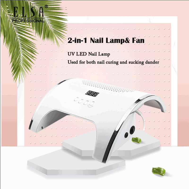 80W 2-IN-1 Nail Lamp With Nail Dust Suction Collector Manicure With Tow Powerful Fan 36 LEDs UV Nail Dryer Dust Cleaner Manicure