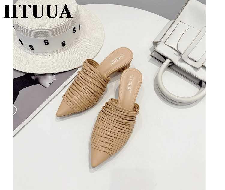 HTUUA ผู้หญิง Mules รองเท้าแตะ 2019 ฤดูใบไม้ร่วงฤดูร้อนแปลกสไตล์รอบรองเท้าส้นสูง Mules รองเท้าผู้หญิงรองเท้าแตะลื่นบนสไลด์ SX3163