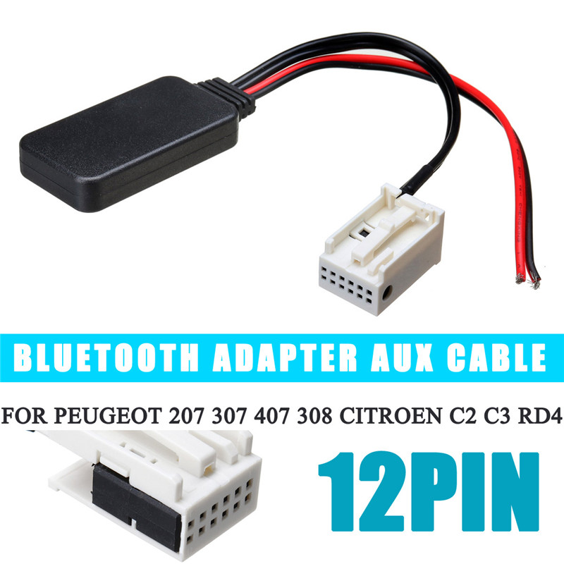 12Pin <font><b>Bluetooth</b></font> Module Wireless Radio Stereo AUX-IN Aux Cable <font><b>Adapter</b></font> For <font><b>Peugeot</b></font> 207 307 <font><b>407</b></font> 308 For Citroen C2 C3 RD4 Car image