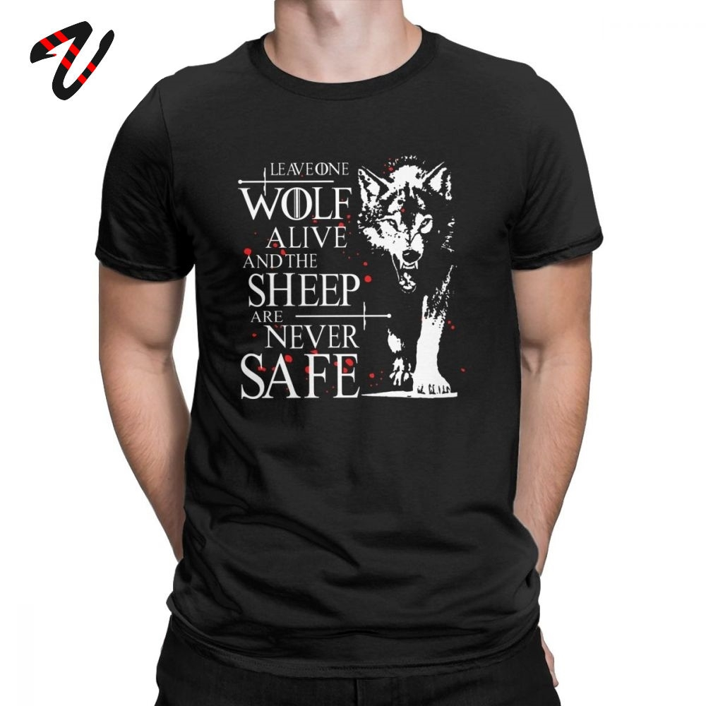 Men T Shirt Leave One Wolf Alive The Sheep Are Never Safe Game Of Thrones Season 8 Quote Cotton Tees O Neck T-Shirt Letter Tops image