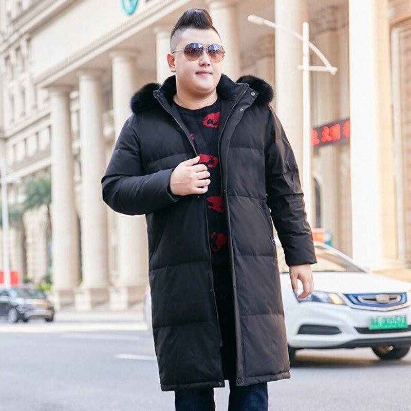 Hiver nouveau 10xl hommes marée graisse longue plus engrais pour augmenter sur le genou fourrure col doudoune chaud hiver vêtements 160kg