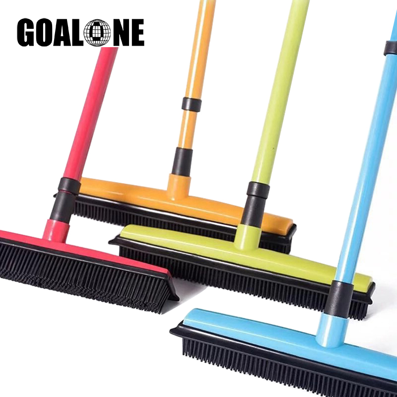 GOALONE Push Broom Soft Bristle Rubber Broom Carpet Sweeper with Squeegee Miracle Broom Pet Hair Removal Household Dust Sweeper