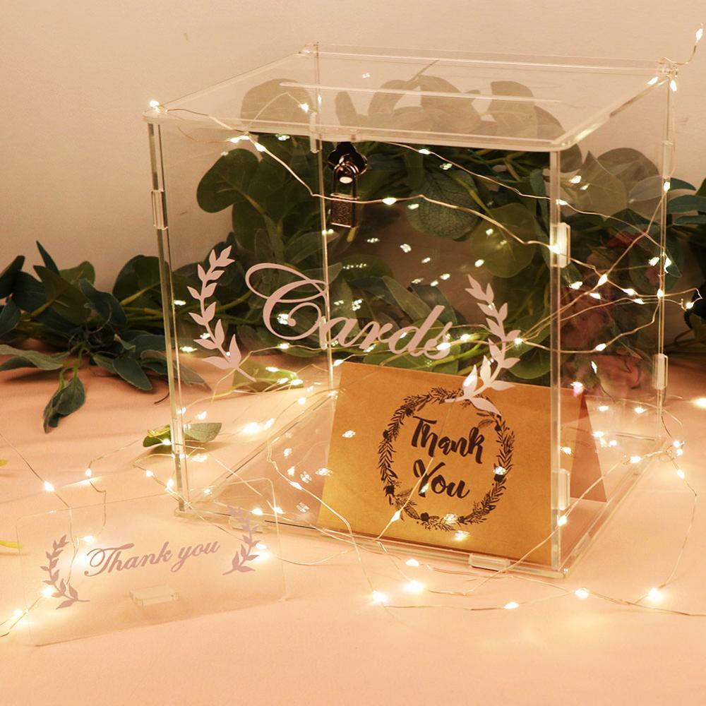 OurWarm DIY Acrylic Card Box For Wedding Reception Birthday Party Baby Shower Decoration Clear Wedding Card Box With Lock