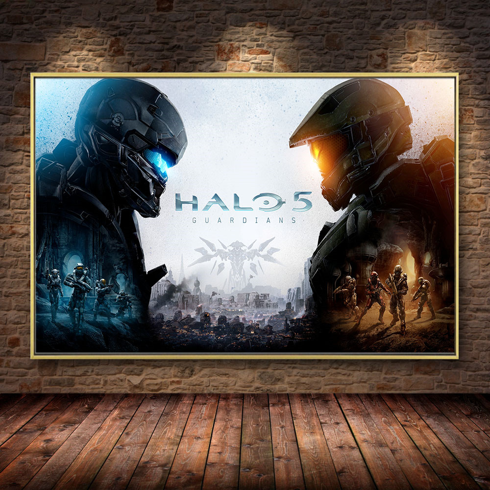 HD Video Game Halo 5 Guardians Oil Canvas Prints And Posters Wall Art Home Print Picture For Gamer Room Boys Room Decor