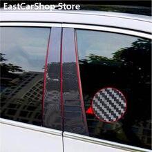 Adhesivo de fibra de carbono para puerta y ventana de coche, adhesivo de tira negra para Volkswagen, VW, Jetta, MK7, 2019, 2020, 2021
