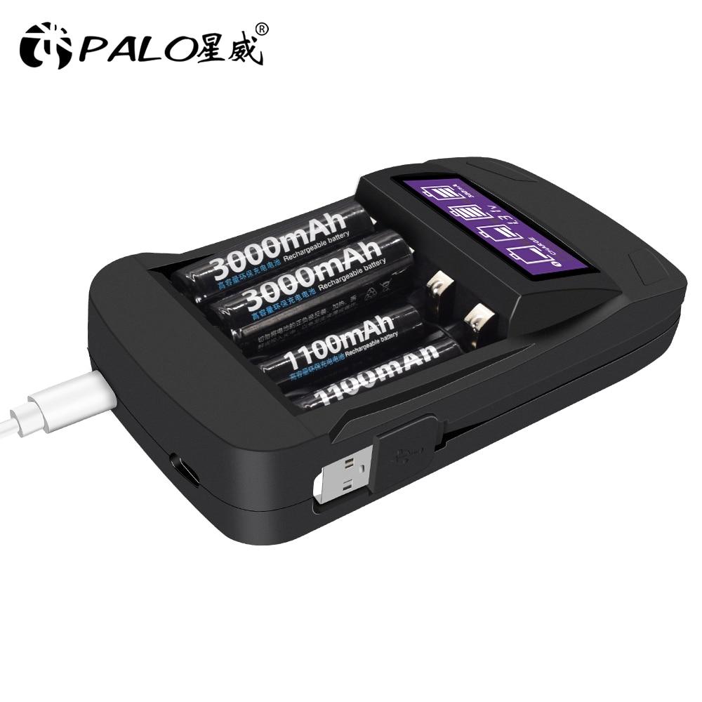 Смарт зарядное устройство PALO с ЖК дисплеем и usb, аккумуляторная батарея AA AAA, быстрая зарядка 1,2 В, AA AAA|Зарядные устройства|   | АлиЭкспресс