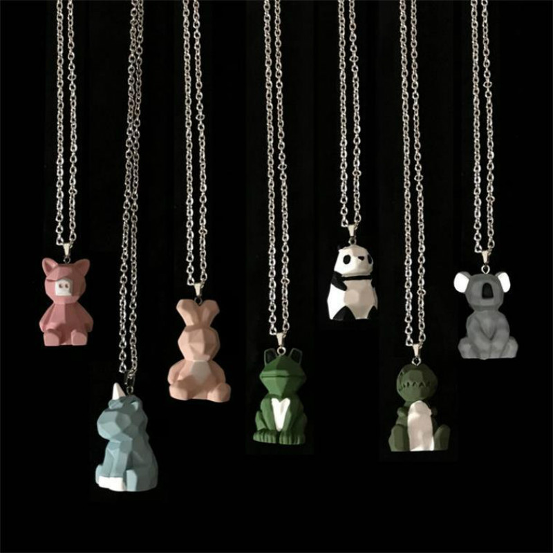 Hip-hop rock stainless steel men necklace animal three-dimensional dinosaur panda rabbit unicorn pendant necklace <font><b>couple</b></font> <font><b>jewelry</b></font> image