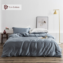 Liv-Esthete Luxury Gray 100% Silk Bedding Set Silky Healthy Skin Duvet Cover Flat Sheet Double Bed For Womom Man Sleeping