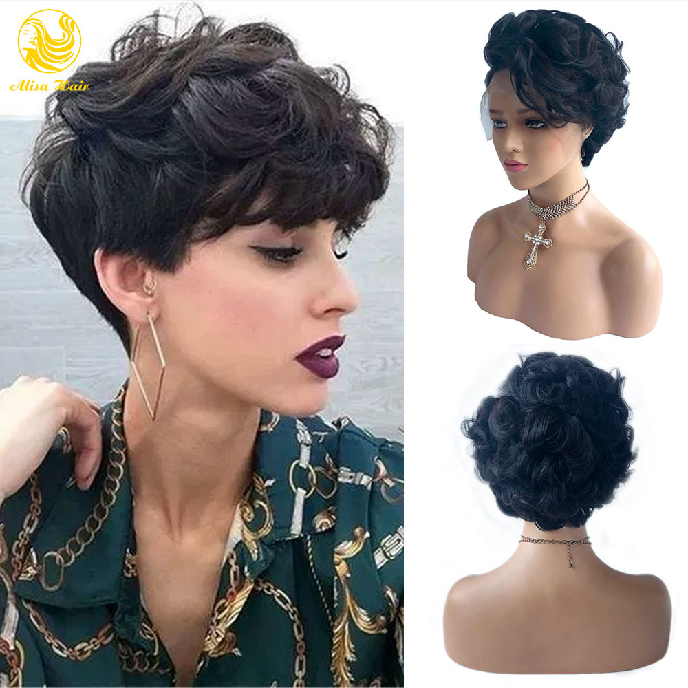Short Pixie Cut Wig Lace Front Human Hair Wigs Virgin Brazilian Bob Wigs For Black Women Natural Hairline