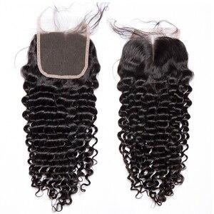 Image 5 - עמוק גל סגירת 4x4 סגירת תחרה שוויצרית תחרה בינוני חום מקסין ברזילאי שיער 10 20 אינץ שיער טבעי סגירת רמי שיער