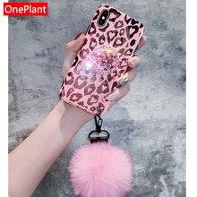 Moda brillante chica amor leopardo 3D diamante soporte pelo bola cordón suave funda para iPhone X XR MAX XS 6 7 8 Plus casos de teléfono