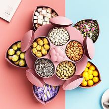 Boîte à bonbons rotative à pétales à 2 niveaux, boîte à snacks, boîte à noix, plateau, étui de stockage des aliments, assiettes de fruits, organisateur de mariage à domicile