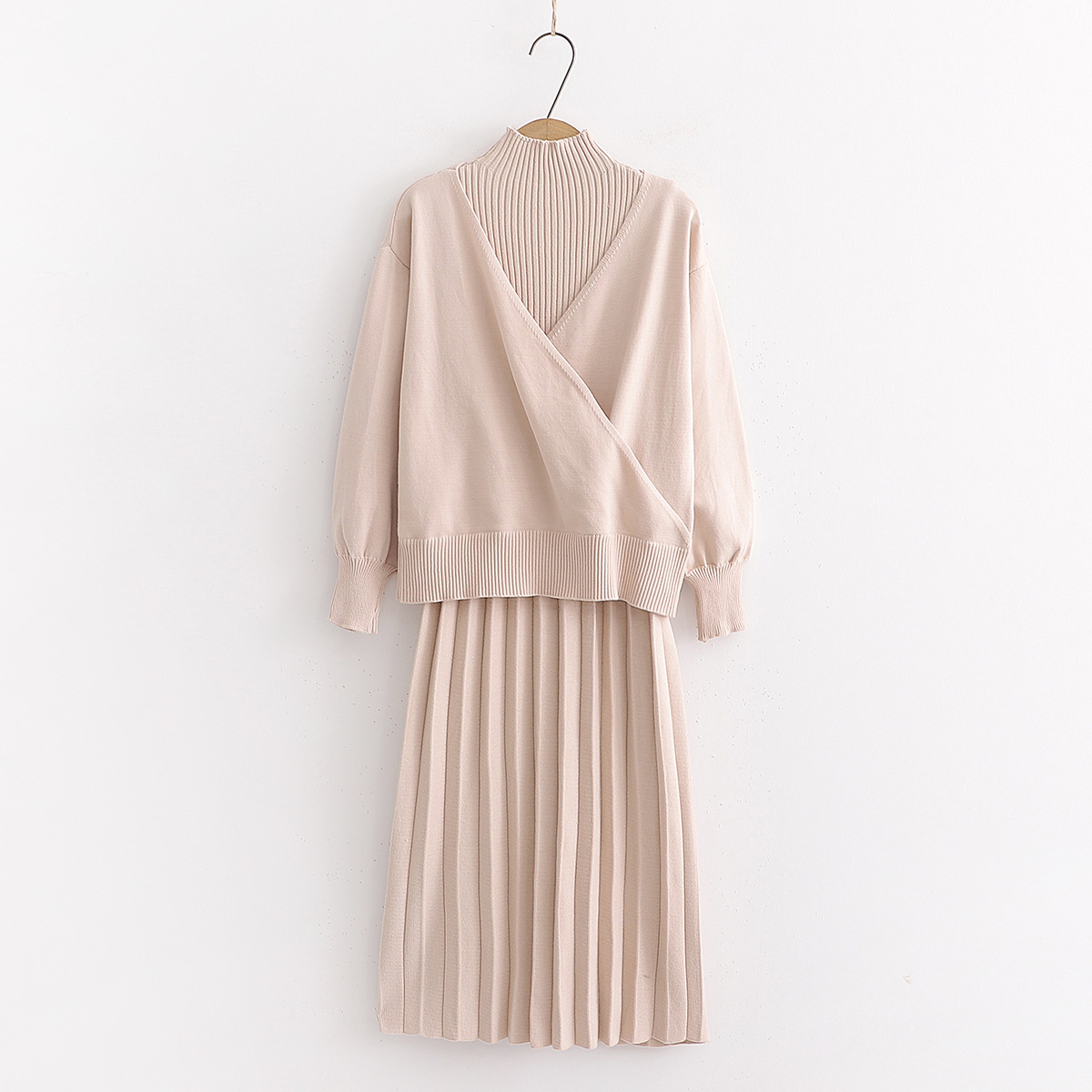 Korean-style Autumn New Style Small High Collar Pullover Knitted Ultra-stretch Sleeveless Pleated Dress Two-Piece Set S28176